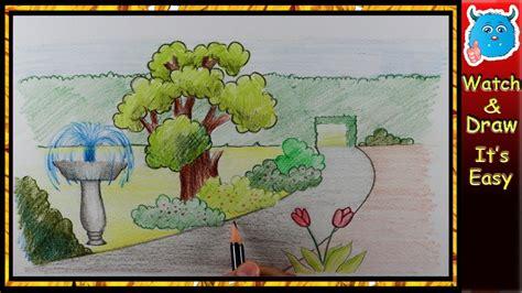 draw  beautiful garden  kids easy step  step