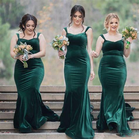 Straps Velvet Green Long Wedding Party Dresses Cheap