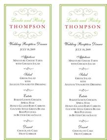 wedding reception menu template wedding menu template 5 free printable menu cards