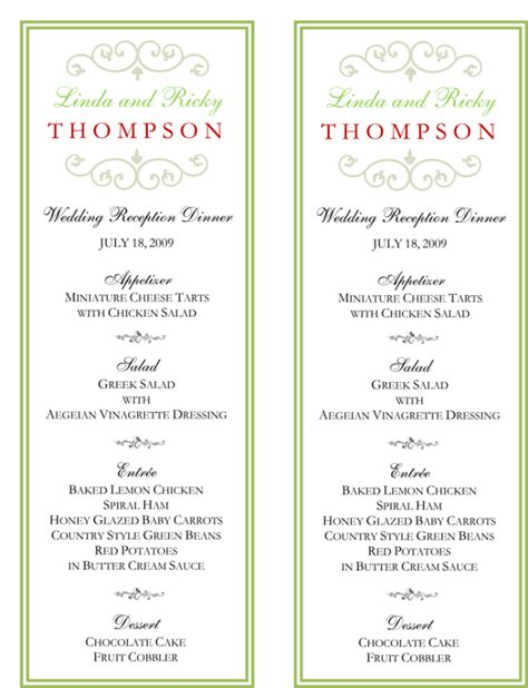 menu cards for weddings free templates wedding menu template 5 free printable menu cards
