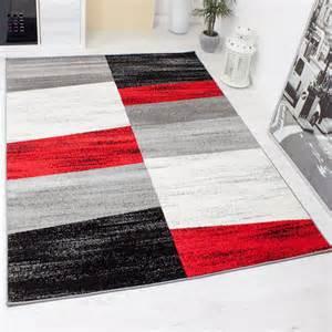 teppich rot weiß designer teppich wohnzimmer kariert muster meliert in rot