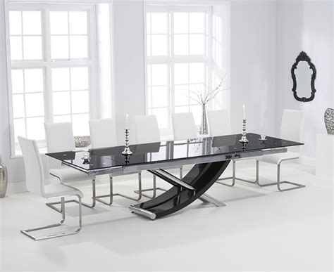 Glass Extending Dining Table Sets Buy Harris Hanover 210cm Black Glass Extending Dining Table With 6 Malibu White Chairs