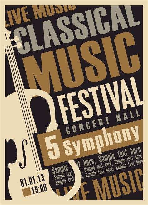 classical music retro concert poster template 04 vector