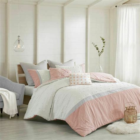 Blush Pink Comforter by Luxury 7pc Blush Pink Ivory Grey Tufted Dots Comforter