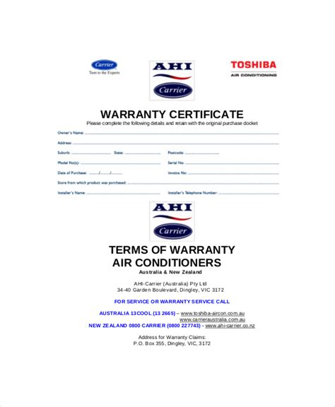 Guarantee Letter Format For Waterproofing Work warranty certificate templates free premium sles