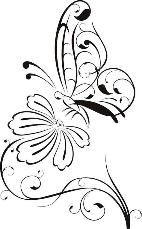 Outline Of Flowers And Butterflies by Flower Drawing Pictures Clipart Best