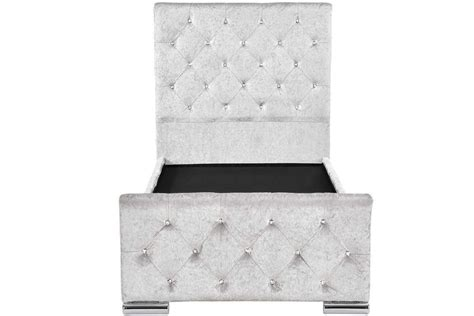 Memory Foam Bed Frame Beaumont Diamante Silver Crushed Velvet Single Bed Frame