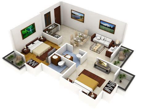 3d house plan design plano 3d de casa con dos dormitorios construye hogar