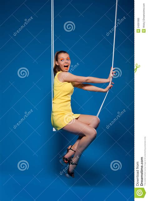 hot swing sexy woman smile on swing with uv make up stock photo