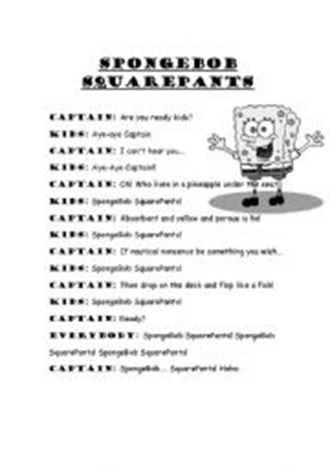 english themes music english worksheets spongebob squarepants theme song