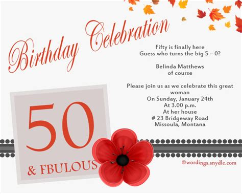 invitation cards for birthday wordings 50th birthday invitation wording sles wordings and messages