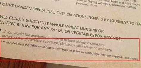 Olive Garden Gluten Free Menu by Updates On Fda Gluten Free Labeling Rule Gluten Free