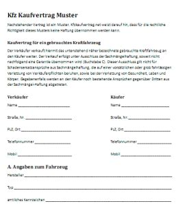 Kaufvertrag Auto Privat Muster by Mechanismus In Autos Kaufvertrag Autoscout24 Privat