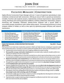 Facilities Manager Resume Sle by Facilities Manager Resume Exle Construction Projects