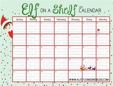 free printable elf on the shelf calendar blank elf on the shelf calendar a little moore