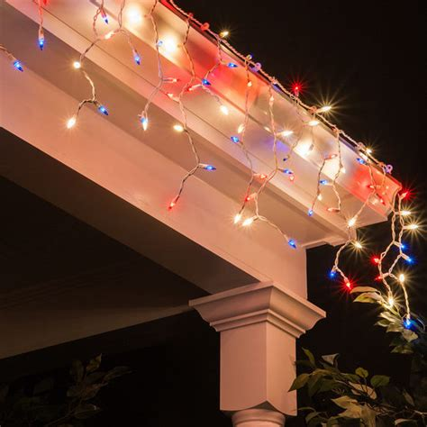 red and white icicle lights 150 icicle lights red white and blue white wire yard envy