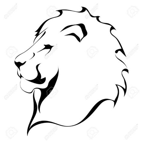 tattoo simple art lion head on a white background tattoo royalty free
