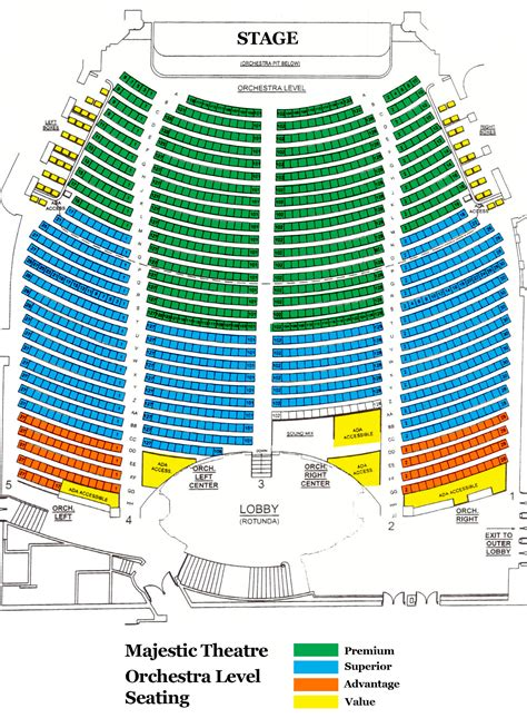 majestic theater san antonio seat numbers majestic theater seating chart majestic theatre seating