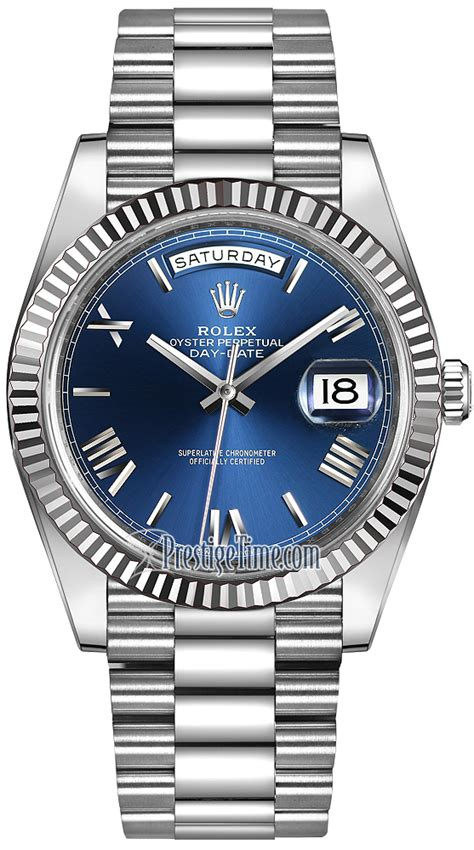 228239 blue rolex day date 40mm white gold mens