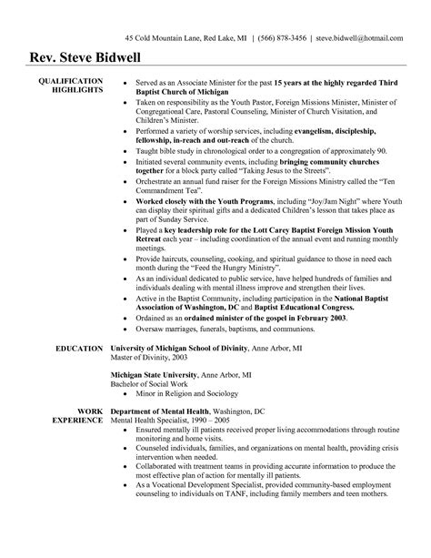 Pastor Resume Template by Sle Pastor Resume Resume Ideas