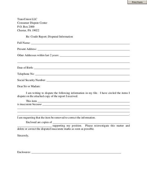 Credit Dispute Form For Transunion Trans Union Dispute Form