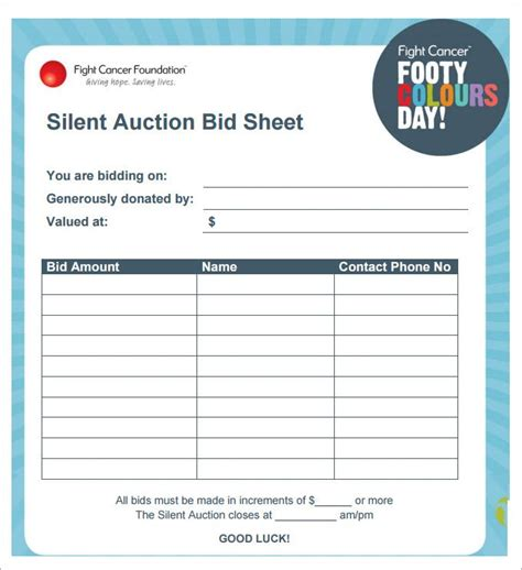 bid sheets for silent auction template silent auction bid sheet template 29 free word excel