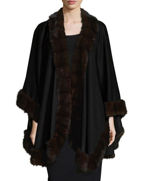 Fur Trim by Lyst Sofia Mink Fur Trim Cape In Black
