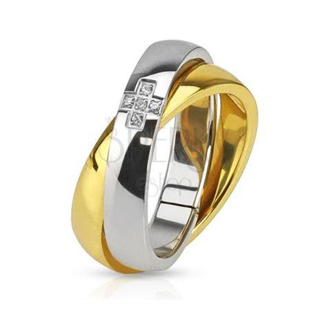 Stahlringe Eheringe by Doppelter Stahlring Gold Und Silber Ehering Zirkonia