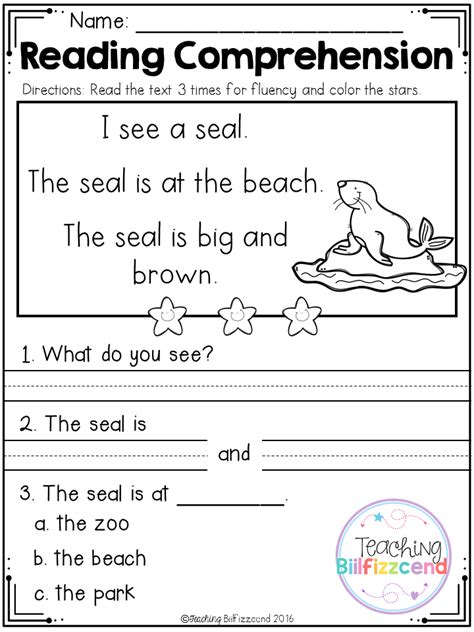 activities for kindergarten reading free reading comprehension passages for beginning readers4