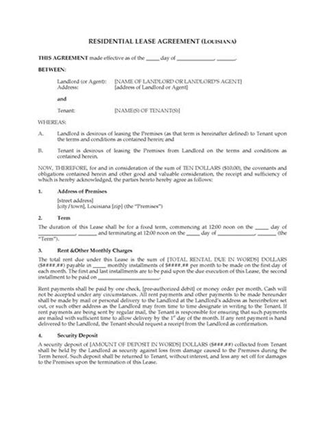 fixed term tenancy agreement template louisiana fixed term residential lease agreement
