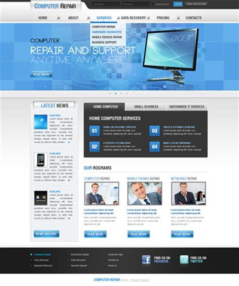 joomla template free 2 5 computer repair v2 5 joomla template demo preview