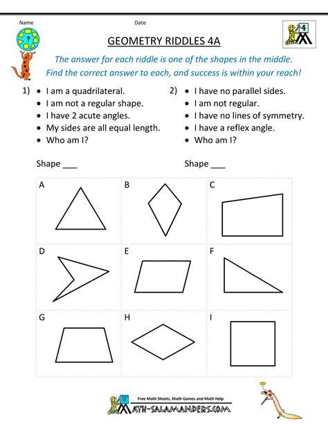 geometric patterns worksheets 5th grade geometric geometry worksheets riddles