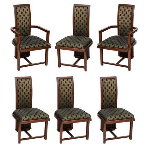 set of six henredon dining chairs in walnut at 1stdibs set of six frank lloyd wright taliesin mahogany dining