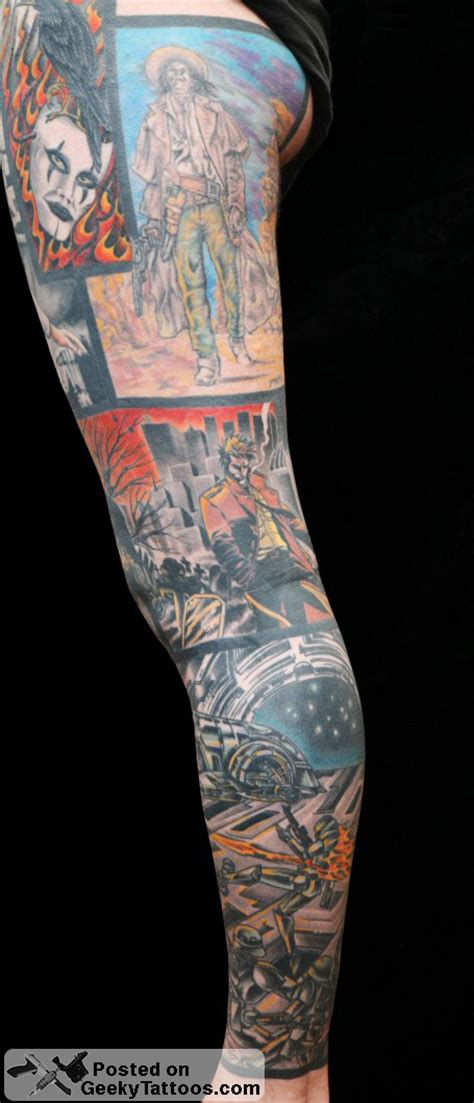 comic book tattoo amazing comic book wars leg sleeve geeky tattoos