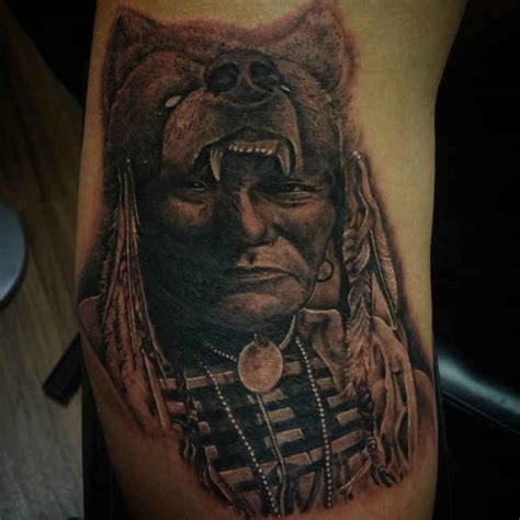 wolf tattoo on indian head ideas tattoo designs