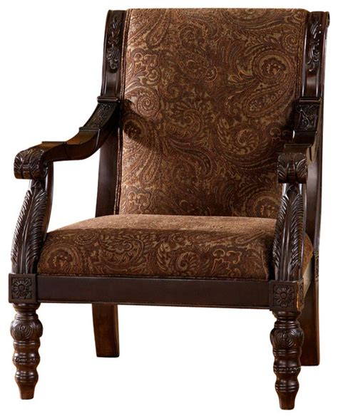 Spindle Chair Legs by Tapestry Print Accent Chair W Spindle Legs Traditional