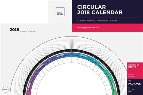 circular calendar template circular 2018 calendar in poster templates on yellow