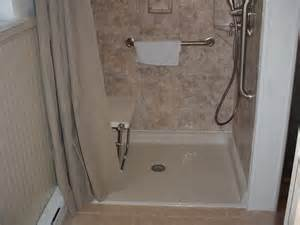 handicapped walk in barrier free shower with seat by all