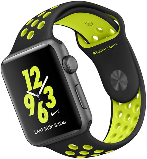 Apple Series 2 Nike 38mm Silver Wth Flat Silver Volt Sport Band apple nike 38mm and 42mm silver aluminium with flat silver white nike sport band