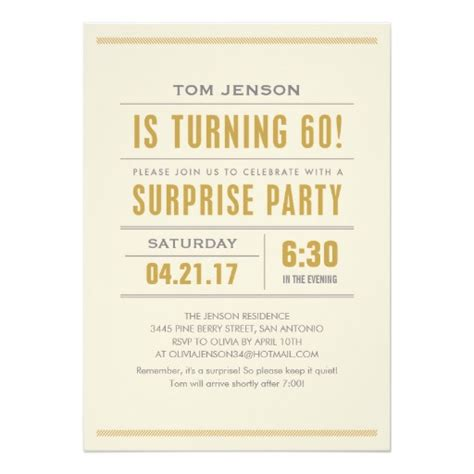 60s theme party guide party ideas home evite big type 60th birthday surprise party invitation card