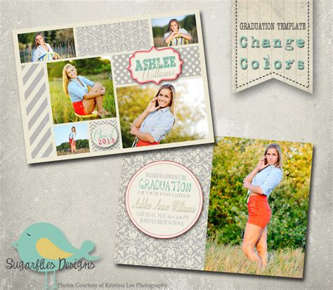 senior announcement templates graduation announcement photoshop template senior