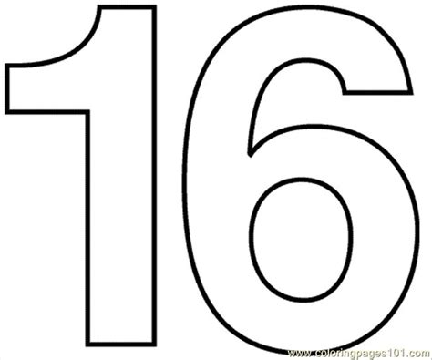 number 16 template coloring pages numbers16 education gt numbers free