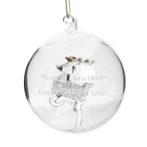 personalised glass reindeer bauble the lavender tree