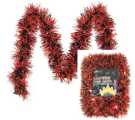 10 lighted garland led orange black tinsel qvc com