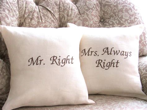 Mr Right Mrs Always Right Pillow by Mr Right And Mrs Always Right Linen Pillow By Yellowbugboutique
