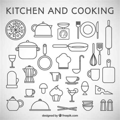 kitchen supplies coloring pages k 252 che und kochen symbole download der premium vektor