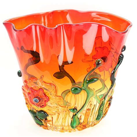 Glass Flower Bowl Murano Glass Vases Murano Glass Abstract Flower Bowl