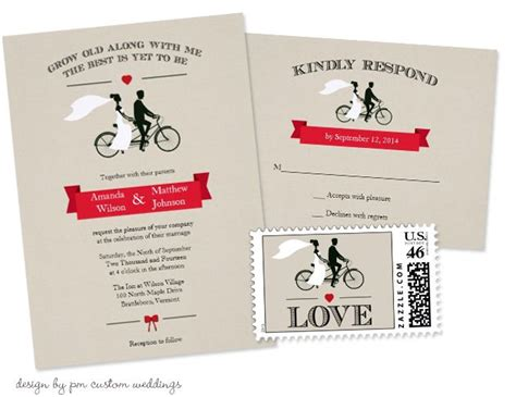 bicycle for two wedding invitations bicycle wedding invitations with matching rsvp cards and