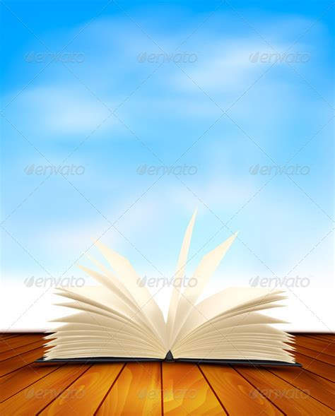a sky of books open book on a wooden floor with blue sky graphicriver