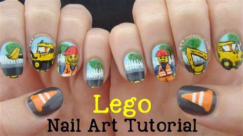 lego nails tutorial lego nail art tutorial roadworks youtube